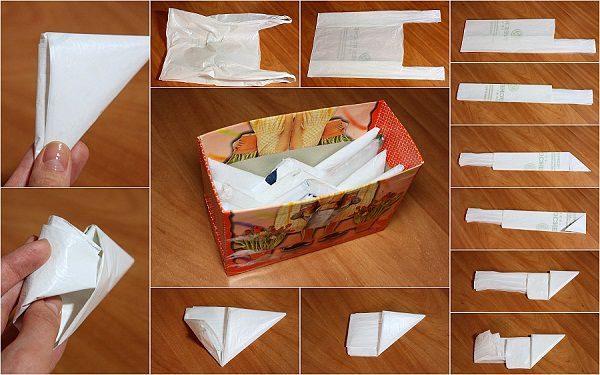 Хранение пакетов в картонной коробке