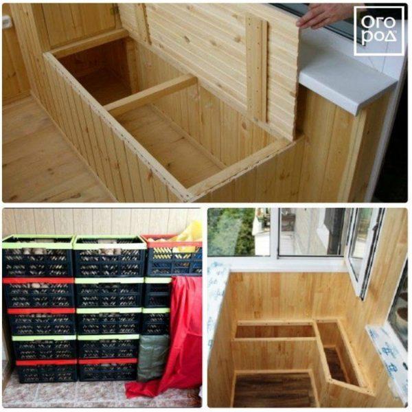 Деревянный ящик на балконе – отличное место для хранения картофеля