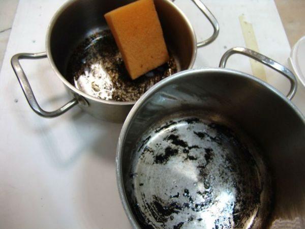 Чистим пригоревшую посуду из нержавейки