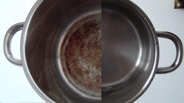 Пригорела кастрюля из нержавейки: как очистить с помощью «Белизны»