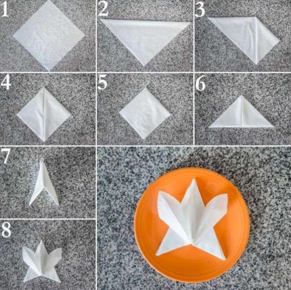 Как красиво сложить бумажные салфетки на праздничный стол, схемы: 5 способов